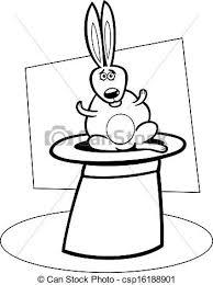 vector clipart rabbit hat cartoon coloring book black