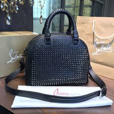 christian louboutin boston top handle bag calfskin leather black