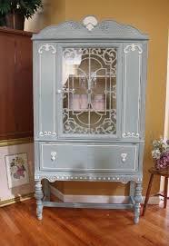 blue u0026 white vintage china cabinet hometalk