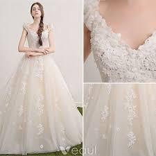 a line princess wedding dress princess wedding dresses 2017 v neck applique lace flowers