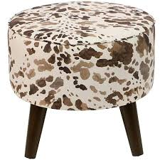 Cowhide Print Bar Stool Cow Print Backless Bar Stools Calf Skin Bar Stools Cow