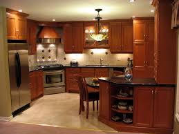 recessed panel cherry cabinets nutmeg stain finish midnight blue