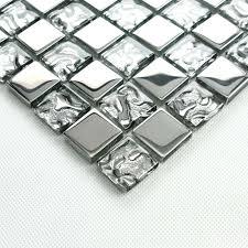 silver glass tile backsplash ideas bathroom mosaic tiles cheap