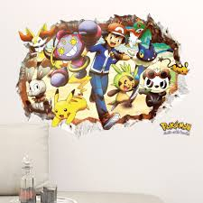 popular pokemon wall decals buy cheap lots cartoon pikachu pokemon smashed wall stickers for kids rooms decals poster decoration