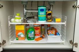 easy home expandable under sink shelf expandable undersink organizer with one sliding drawer