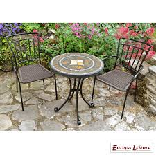 Mosaic Patio Table And Chairs by Europa Torello Mosaic Bistro Table With 2 Malaga Chairs All