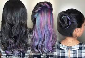 57year hair color women show off their hidden secret rainbow hair colour on social