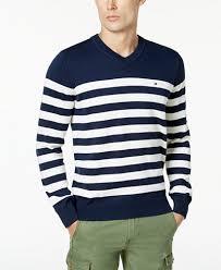 hilfiger s signature seattle striped v neck sweater