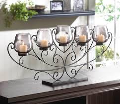 decorating cool fireplace candelabra with log tea light holders