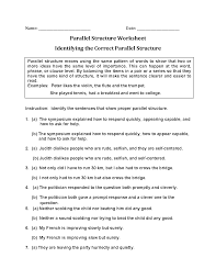 identifying correct parallel structure worksheets teaching helps