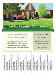 tear off tab flyer for lawn care or landscaping business lawn