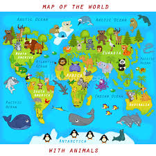 map of the world with animals wallpaper wall mural wallsauce usa