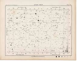 Star Maps 1892 Star Map Lithograph 60 Astronomy Antique Print