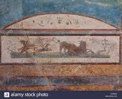 italy pompeii naples wall painting from ad79 in the casa del pompeii italy ancient hunting painting home wall stock photo