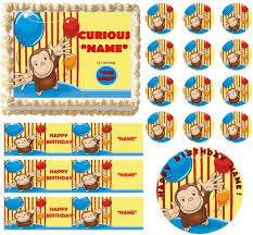 curious george cake topper george birthday party edible cake topper frosting sheet all sizes