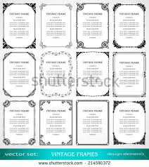 vintage frames borders set book covers stock vector 326802998