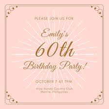pink gold 60th birthday invitation templates by canva