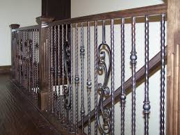 Iron Banisters And Railings Wood Railing With Wrought Iron Balusters Traditional Staircase