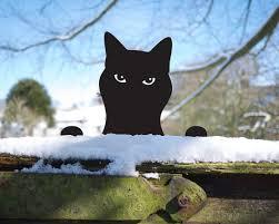 garden cat ornament for metal peeping tom yard