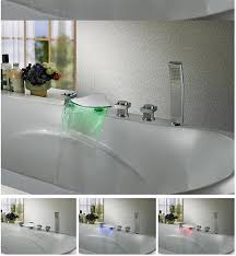 Led Bathroom Faucets Led Bathtub Faucet Three Handle With Handshower