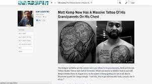 matt kemp now has massive tattoo his grandparents chest 5548355