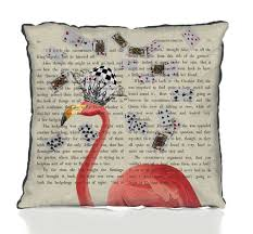 pink flamingo alice in wonderland cushion by fabfunky home decor