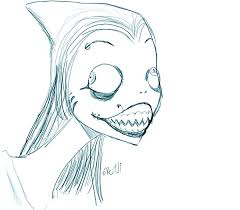 shark woman drawing by skinny rydell