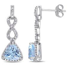 infinity earrings 2 95ctw blue topaz and diamond 10k white gold infinity drop