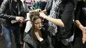 hair show 2015 zagreb croatia march 21 2015 professional hairdressers doing