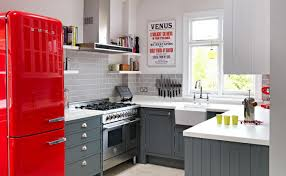 Kitchen With Red Appliances - fascinating small kitchen in retro style with gray cabinets and