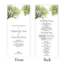 tea length wedding program trees 2 tea length wedding program template a j s prints