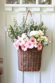 flower basket fresh cut flowers in a door basket the inspired room