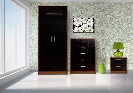 walnut and black gloss bedroom furniture