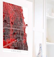 Map Room Chicago Il by Chicago Illinois City Street Map Print Modern Art Poster