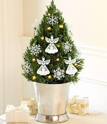 minimalist home interior small glass tree with ornaments