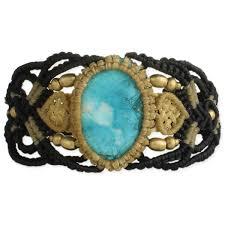 turquoise stone bracelet images Black tan woven cord turquoise stone bracelet jpg