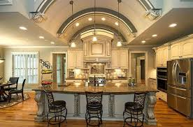 rustic kitchen island design with unique chairs and wooden foor