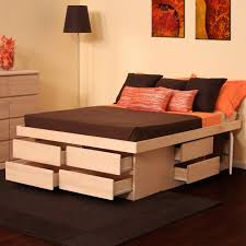 innovative tall platform bed with brown wood high raised platform