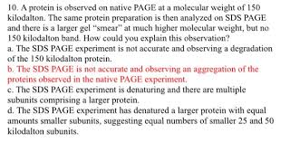 10 a protein is observed on page at a mole chegg