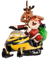 santa and reindeer on snowmobile ornament