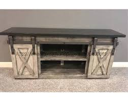 barn door side table entertainment center etsy