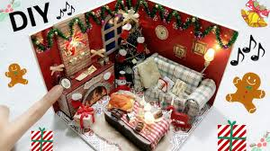 diy miniature christmas dollhouse with music and lights youtube