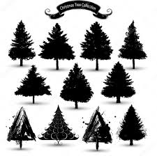christmas tree silhouette collection u2014 stock vector hugolacasse