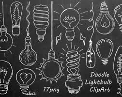 Light Bulb Clipart Doodle Light Bulb Clipart Hand Drawn Light Bulb Clip Art Digital