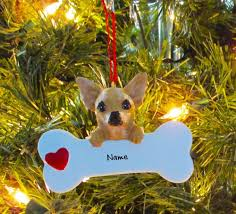 chihuahua with bone personalized tree ornaments ebay