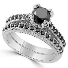 black diamond wedding set 1 95 carat black diamond engagement ring set vintage style