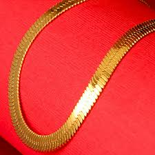 gold plated chain necklace images Free shipping 18k real gold plated necklace flat snake chain jpg