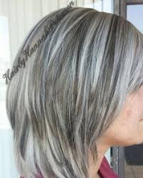 photos of gray hair with lowlights did this very beautiful color today white blonde with dark