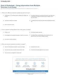 sources for writing a research paper quiz worksheet using information from multiple sources in an print how to use information from multiple sources in an essay worksheet