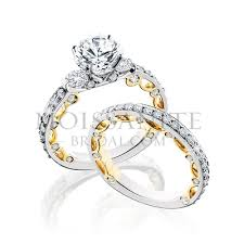 gold bridal sets 14k two tone gold and diamond wedding set